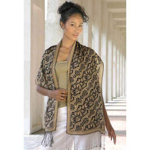 Silk 'Tamarind Leaves' Batik Scarf