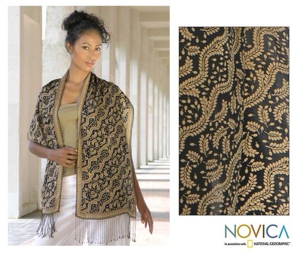 Handmade Silk 'Tamarind Leaves' Batik Scarf (Indonesia)
