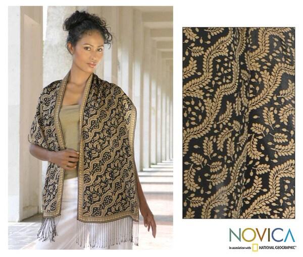 Silk 'Tamarind Leaves' Batik Scarf (Indonesia)