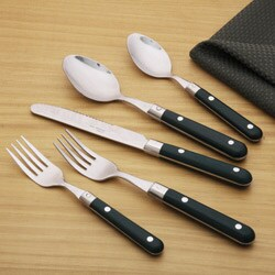 Ginkgo Le Prix 20-Piece Hunter Green Flatware Set