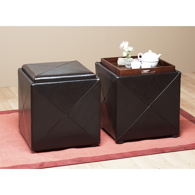 Chocolate Leather Storage Cube with Wood Serving Tray ...