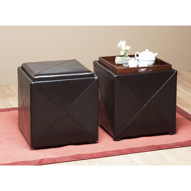 Chocolate Leather Storage Cube with Wood Serving Tray - Thumbnail 0