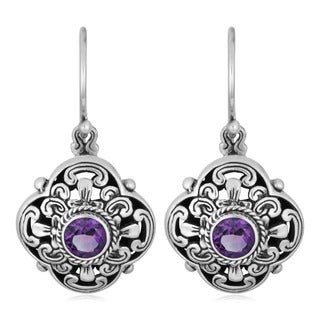 Handmade Sterling Silver 'Cawi' Amethyst Dangle Earrings (Indonesia)