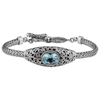 Handmade Sterling Silver 'Cawi' Blue Topaz Toggle Bracelet (Indonesia)