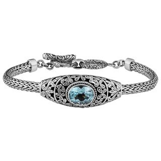 Handmade Sterling Silver Blue Topaz Cawi Toggle Bracelet (Indonesia)
