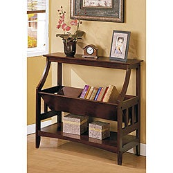 Three-shelf Walnut Brown Solid Wood Bookshelf