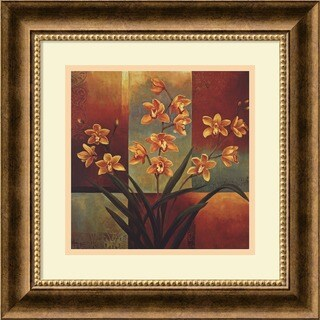 Framed Art Print 'Orange Orchid' by Jill Deveraux 17 x 17-inch