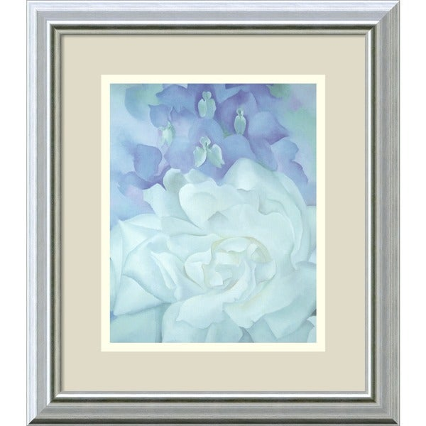 Framed Art Print White Rose With Larkspur No 2 By