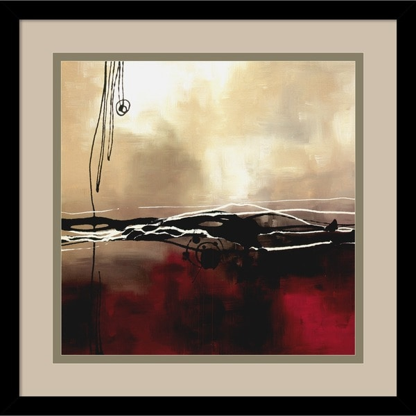 Framed Art Print 'Symphony in Red and Khaki I' by Laurie Maitland 16 x 16-inch