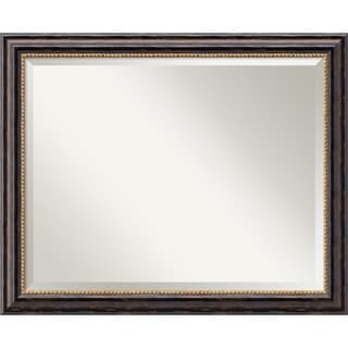 Wall Mirror Large, Tuscan Rustic 32 x 26-inch - black/bronze
