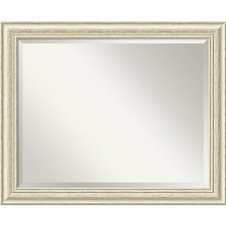 Wall Mirror Large, Country Whitewash 33 x 27-inch - White - large - 33 x 27-inch