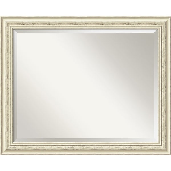 The Gray Barn Wilset Large Country Whitewash Wall Mirror - White Washed - large - 33 x 27-inch