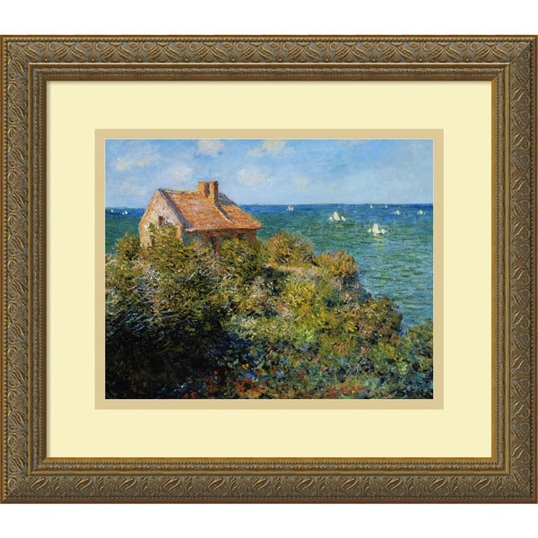 Framed Art Print 'Fisherman's Cottage on the Cliffs at Varengeville, 1882' by Claude Monet 16 x 14-inch