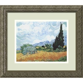 Framed Art Print 'Yellow Wheat and Cypresses, c. 1889' by Vincent van Gogh 16 x 14-inch
