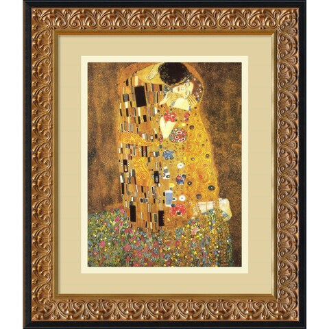 Framed Art Print 'The Kiss (Le Baiser / Il Baccio), 1907' by Gustav Klimt 17 x 20-inch