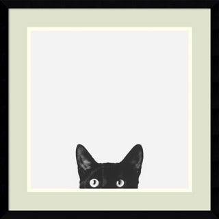 Framed Art Print 'Curiosity (Cat)' by Jon Bertelli 20 x 20-inch