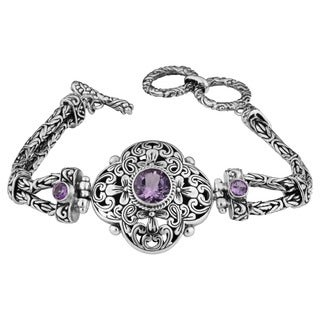 Handmade Sterling Silver 'Cawi' Amethyst Clover Toggle Bracelet (Indonesia)