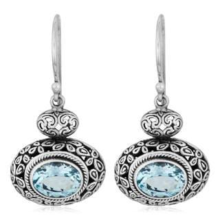 Handmade Sterling Silver 'Cawi' Blue Topaz Dangle Earrings (19 mm) (Indonesia)