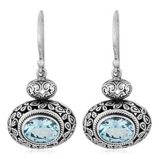 Handmade Sterling Silver 'Cawi' Blue Topaz Dangle Earrings (19 mm) (Indonesia)|https://ak1.ostkcdn.com/images/products/3942529/P11980008.jpg?impolicy=medium