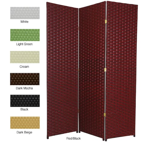 Handmade Woven Fiber 6' 4-panel Frameless Room Divider - 71 x 68