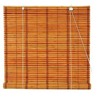 Handmade Burnt Bamboo 24-inch Roll-up Window Shade (China) (Option: Two-tone Honey)