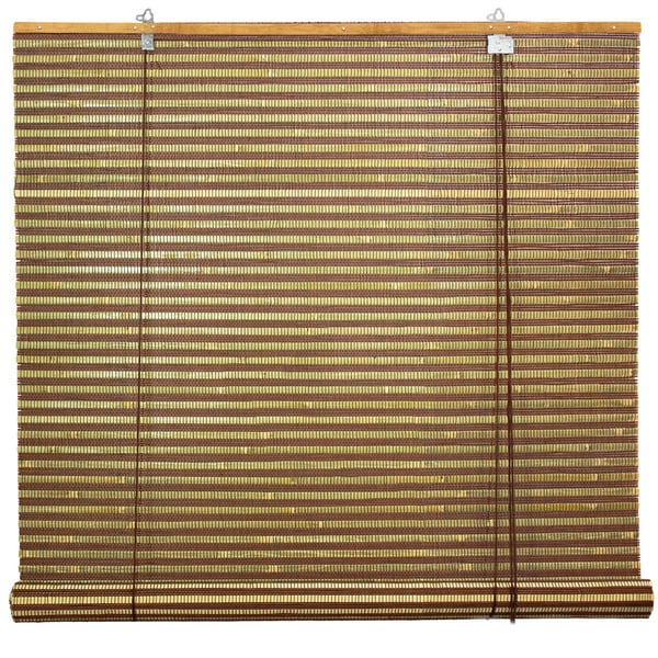 Handmade Burnt Bamboo 36-inch Roll-up Window Shade (China)