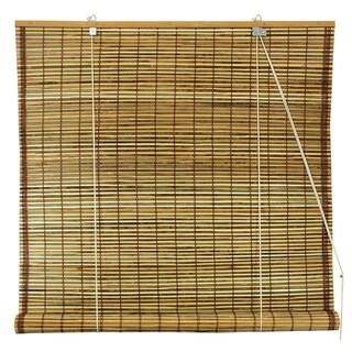 Handmade Burnt Bamboo 48-inch Roll-up Window Shade (China) - 48 x 48 (Option: Natural)