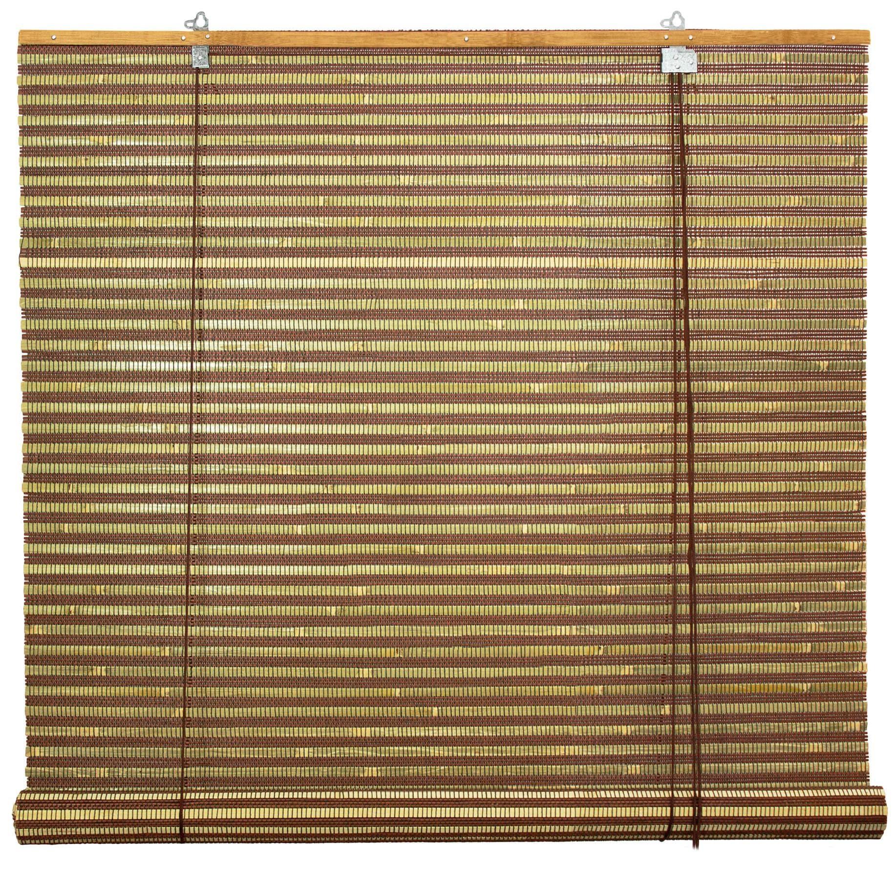 Oriental FURNITURE Handmade Burnt Bamboo 48-inch Roll-up ...
