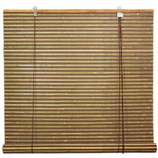 Handmade Burnt Bamboo 60-inch Roll-up Window Shade (China) - 60 x 60