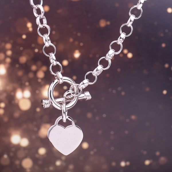 Miadora Sterling Silver Heart Toggle Necklace. Opens flyout.