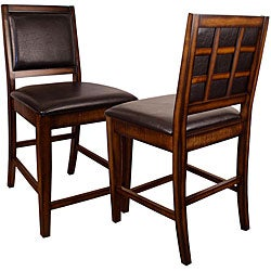 Rustic Oak Counter-height Chairs (Set of 2)