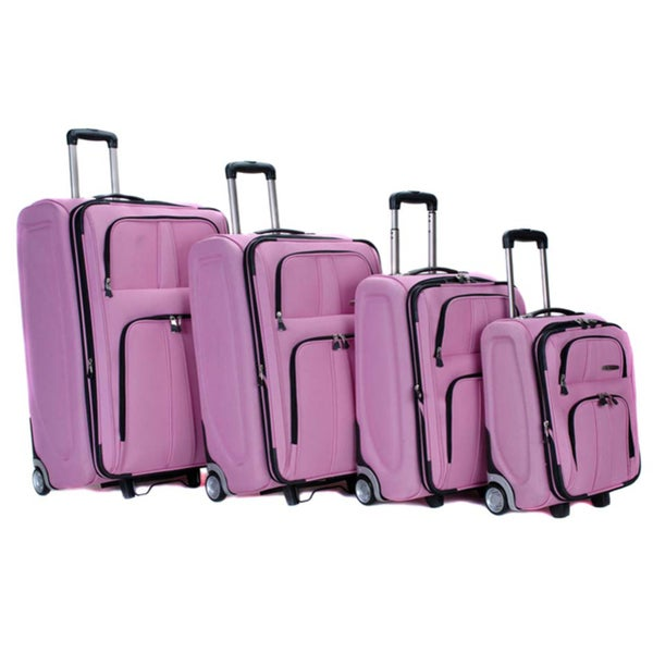 Rockland Presidential Pink 4-piece Luggage Set
