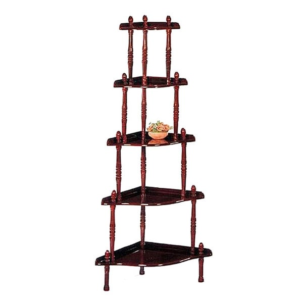 Corner 5 tier book shelf display cabinet free shipping for Furniture of america nara contemporary 6 shelf tiered open bookcase