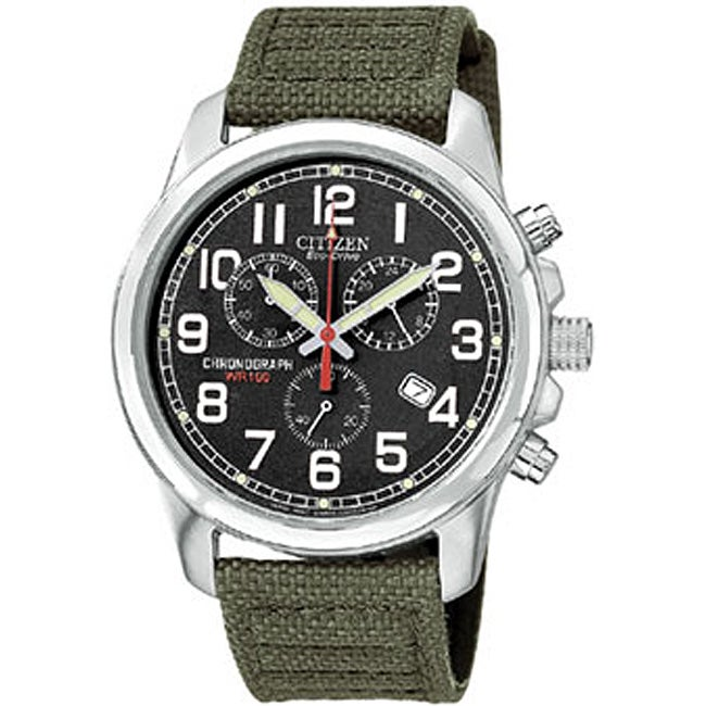 f8207bf7a5b Shop Citizen Men s Eco-Drive Chronograph Canvas Strap Watch - Free Shipping  Today - Overstock - 3950639