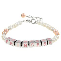 "Sterling Silver 6-inch plus 1"" extension Freshwater Pearl Princess Bracelet (4 m"