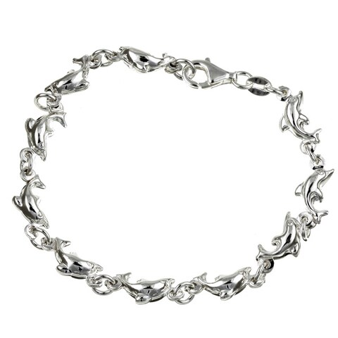 Sterling Silver 7-inch Swimming with the Dolphins Bracelet