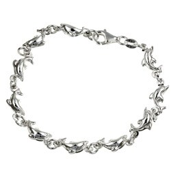 Sterling Essentials Sterling Silver 7-inch Swimming with the Dolphins Bracelet