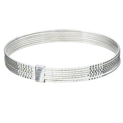 Sterling Essentials Sterling Silver 7-inch Diamond-Cut Bollywood Bangle Bracelet