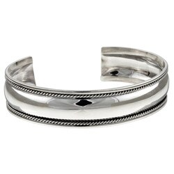 Sterling Silver 7-inch Antique Finish Cuff Bracelet