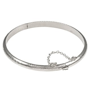Silver 7-inch Hand-engraved 5 mm Bangle Bracelet ( 7 Inch )
