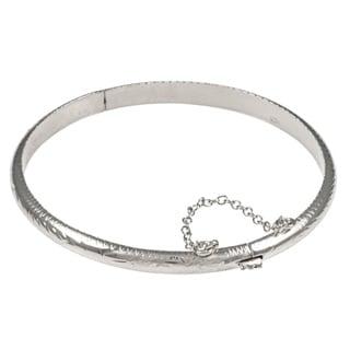 Sterling Essentials Silver 7-inch Hand-engraved Bangle Bracelet (5mm)