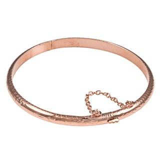 Sterling Essentials Silver 7-inch Hand-engraved Bangle Bracelet (5mm) (Option: Pink - Rose Gold Plate/Sterling Silver - Rose)
