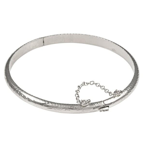 a6f904c09f5 Shop Sterling Essentials Silver 7-inch Hand-engraved Bangle Bracelet ...