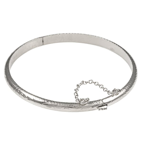 Sterling Essentials Silver 7-inch Hand-engraved Bangle Bracelet (5mm)