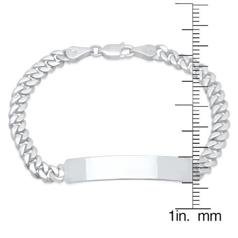 Sterling Essentials Sterling Silver 6-inch Child's Cuban Link ID Bracelet