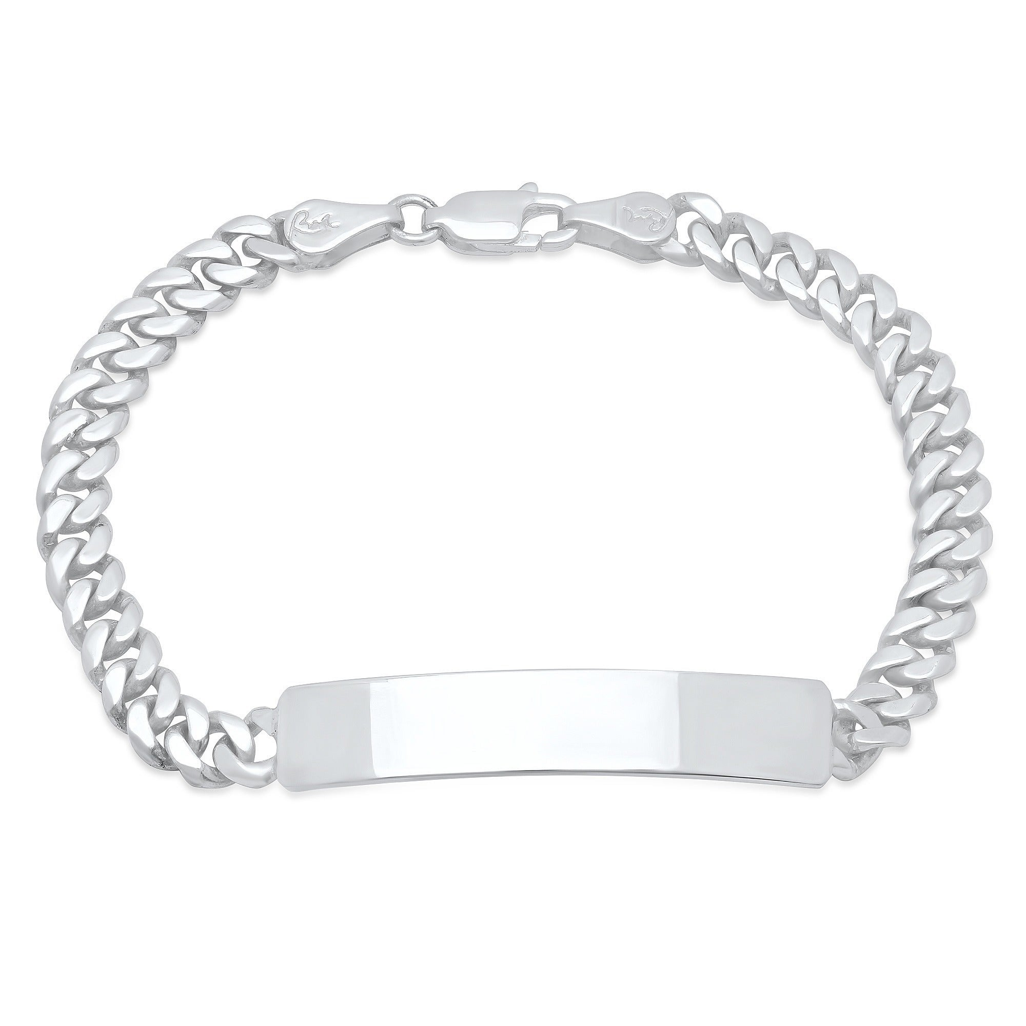 Platinum Sterling Silver Cuban Link Child ID Name Bracelet Free Engraving Gift