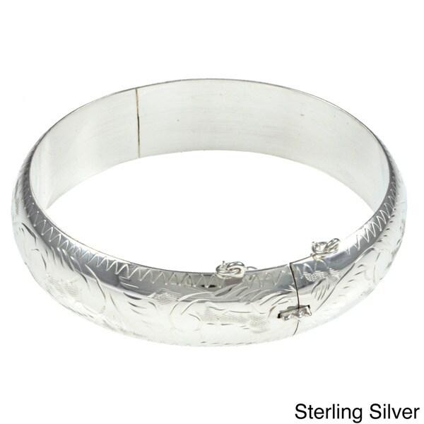 Sterling Essentials Silver 7-inch Hand-engraved Bangle Bracelet (15mm)