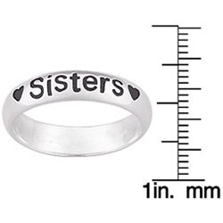 Sterling Silver 'Sisters' Message Heart Ring