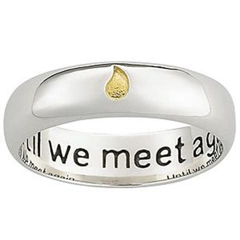 Polished Sterling Silver Memorial Sentiment Ring with Inscription - White
