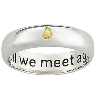Polished Sterling Silver Memorial Sentiment Ring with Inscription - White (Option: 5)